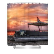 Beer Can Island Sunset Shower Curtain