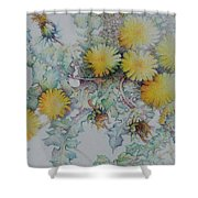 Bees Adore Dandelions Shower Curtain