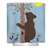 Bees And The Bear Shower Curtain