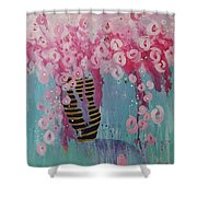 Bees In Pink Shower Curtain