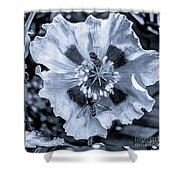Double Bees On Poppy Bw Shower Curtain
