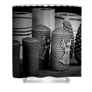 Beeswax Candles With Angels And Pinecones Shower Curtain
