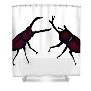 Beetle And Stag Beetle Shower Curtain