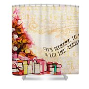 Beginning To Look Like Christmas Card 2017 Shower Curtain