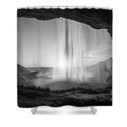 Behind Seljalandsfoss Sunset Bw Shower Curtain