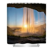 Behind Seljalandsfoss Sunset  Shower Curtain