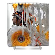 Behind The Feathers-3 Shower Curtain