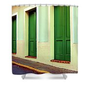 Behind The Green Doors Shower Curtain