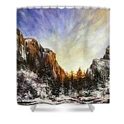 Behind The Mountains  Shower Curtain