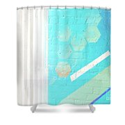 Beige And Turquoise Candy Stripes Shower Curtain