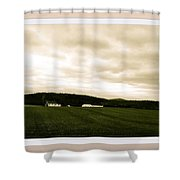 Beige Skies Smiling Above Shower Curtain