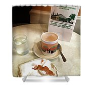 Beignet And Coffee At Cafe Du Monde Shower Curtain