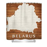Belarus Rustic Map On Wood Shower Curtain