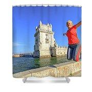 Belem Tower Jumping Shower Curtain