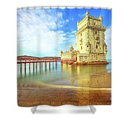 Belem Tower Reflects Shower Curtain