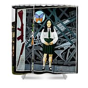 Belfast Mural - Butterfly - Ireland Shower Curtain