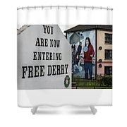 Belfast Mural - Free Derry - Ireland Shower Curtain