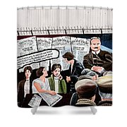 Belfast Mural - Headlines - Ireland Shower Curtain