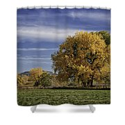 Belfry Fall Landscape 7 Shower Curtain by Roger Snyder
