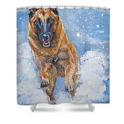 Belgian Malinois In Snow Shower Curtain