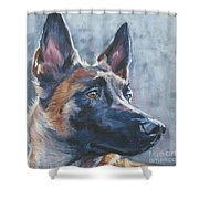 Belgian Malinois In Winter Shower Curtain
