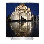 Belgrade Serbia Orthodox Cathedral Of Saint Sava  Shower Curtain