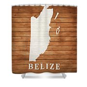 Belize Rustic Map On Wood Shower Curtain