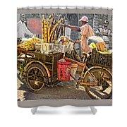 Belize Vendor With Bike Shower Curtain