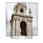 Bell Tower With Red   Shower Curtain