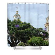 Bell Towers Next To Trees Shower Curtain