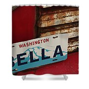 Bella License Plate Shower Curtain