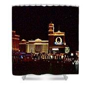 Bellagio And Caesar's Palace In Las Vegas-nevada Shower Curtain