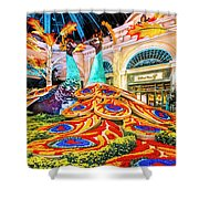 Bellagio Conservatory Fall Peacock Display Side View Wide 2 To 1 Ratio Shower Curtain