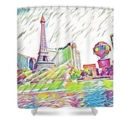 Bellagio Fountains Shower Curtain
