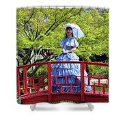 Belle On Red Bridge Shower Curtain