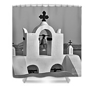 Bells In Oia Bw Shower Curtain