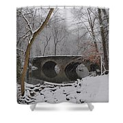 Bells Mill Bridge On A Snowy Day Shower Curtain