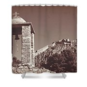 Belltower And Fortress Of Palamidi, Nafplio, Greece. Sepia. Shower Curtain