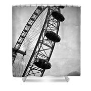 Below London's Eye Bw Shower Curtain