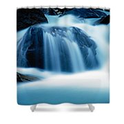 Below Tak Falls Shower Curtain