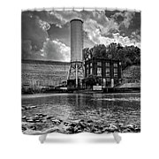 Below The Dam In Black And White Shower Curtain
