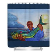 Ben And The Dolphin Fish Shower Curtain