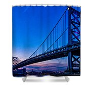 Ben Franklin Bridge At Sunset Shower Curtain
