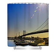 Ben Franklin Bridge From The Marina Shower Curtain