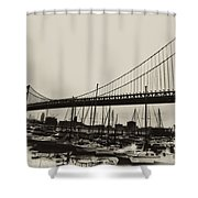 Ben Franklin Bridge From The Marina In Black And White. Shower Curtain
