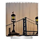 Ben Franklin Bridge In Early Morning Shower Curtain