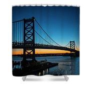 Ben Franklin Bridge In Philadelphia At Dawn Shower Curtain