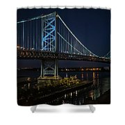 Ben Franklin Bridge In Philadelphia At Night Shower Curtain