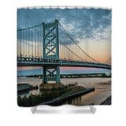 Ben Franklin Bridge In Philadelphia In The Early Morning Shower Curtain