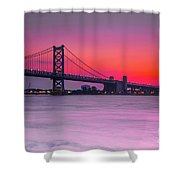 Ben Franklin Bridge - Sunrise Shower Curtain